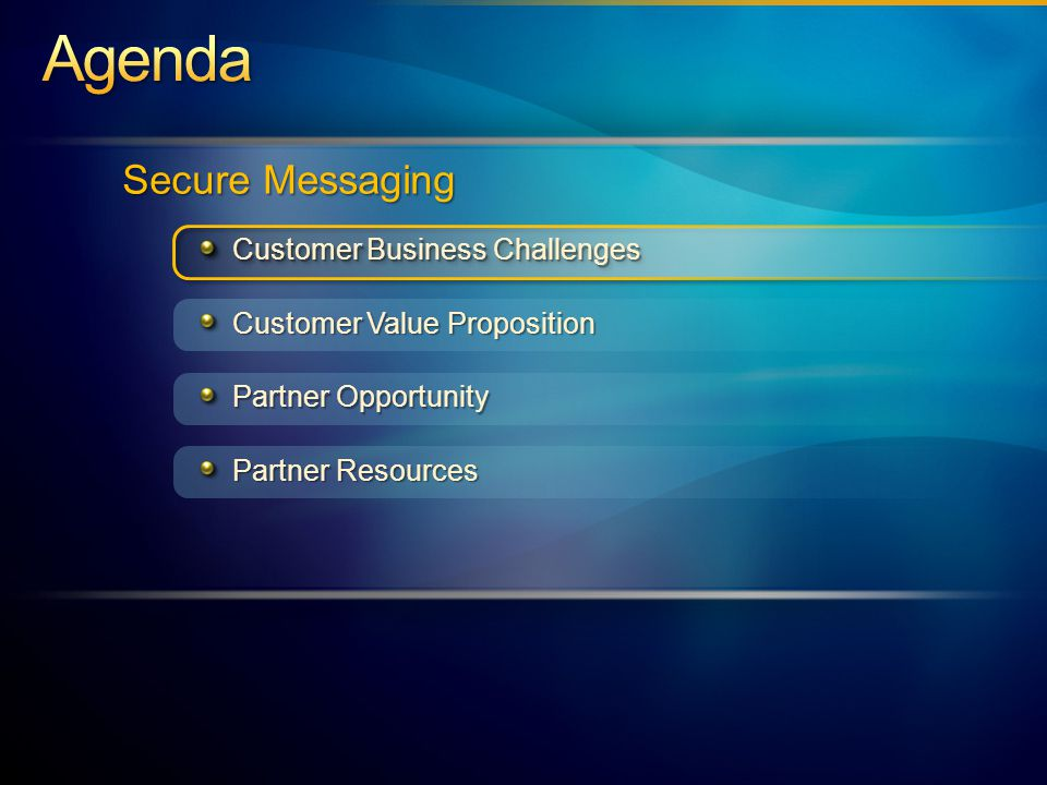 Secure Messaging Customer Value Proposition Customer Business Challenges Partner Resources Partner Opportunity