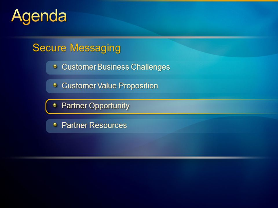 Partner Opportunity Customer Business Challenges Customer Value Proposition Secure Messaging Partner Resources