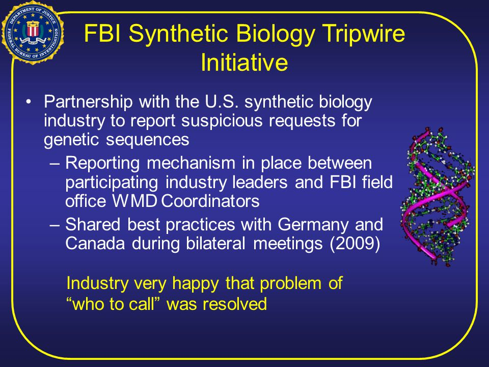 FBI Synthetic Biology Tripwire Initiative Partnership with the U.S.