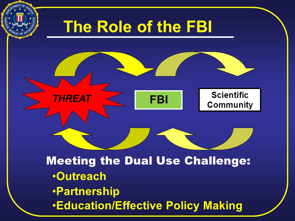 THREAT Scientific Community FBI The Role of the FBI Meeting the Dual Use Challenge: Outreach Partnership Education/Effective Policy Making