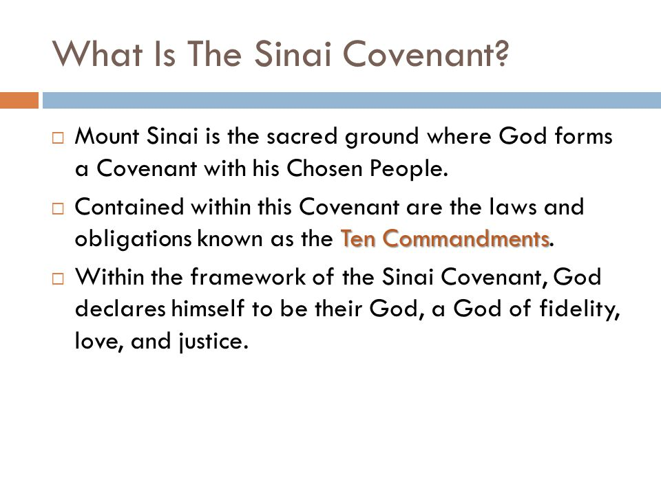 What Is The Sinai Covenant?  Mount Sinai is the sacred ground where God forms a Covenant with his Chosen People. Ten Commandments  Contained within