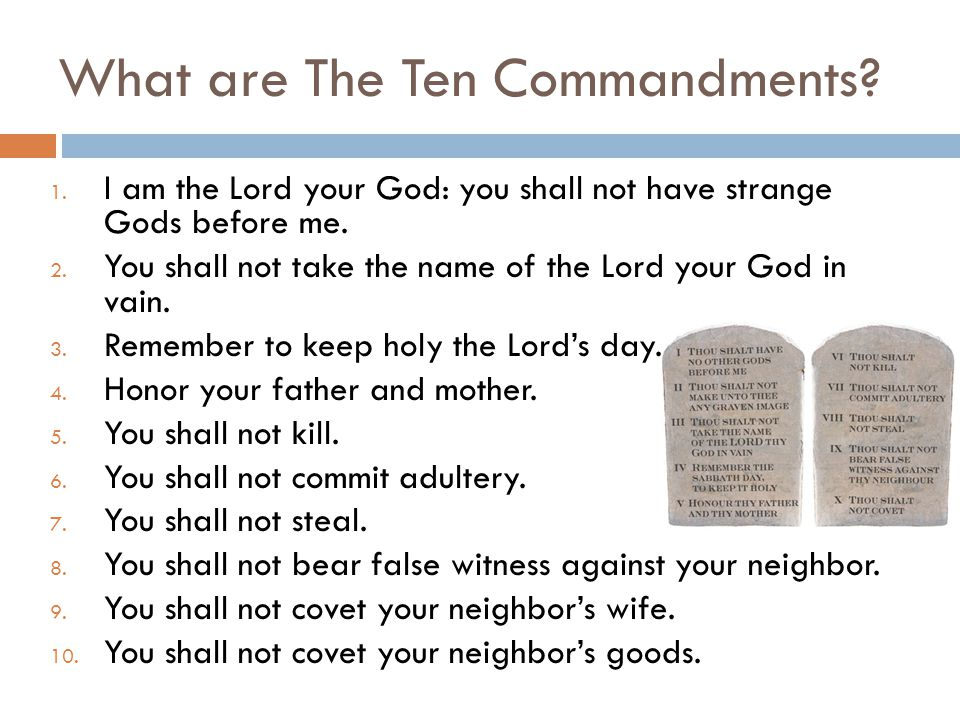 What are The Ten Commandments? 1. I am the Lord your God: you shall not have strange Gods before me. 2. You shall not take the name of the Lord your G