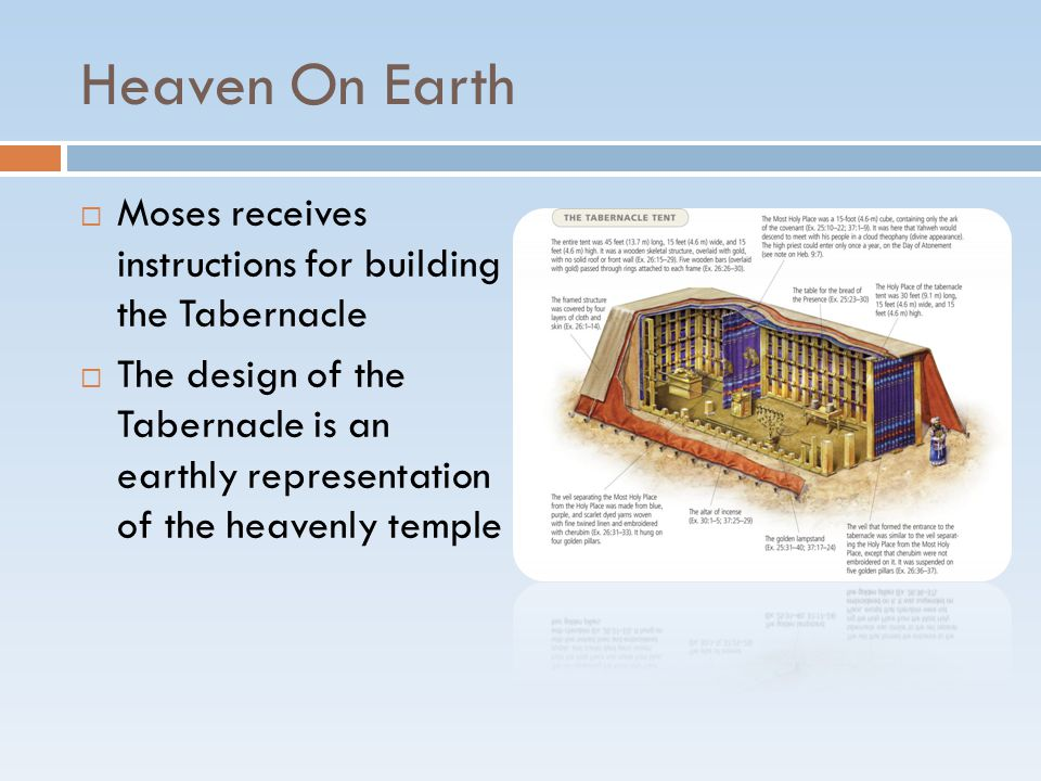 Heaven On Earth  Moses receives instructions for building the Tabernacle  The design of the Tabernacle is an earthly representation of the heavenly