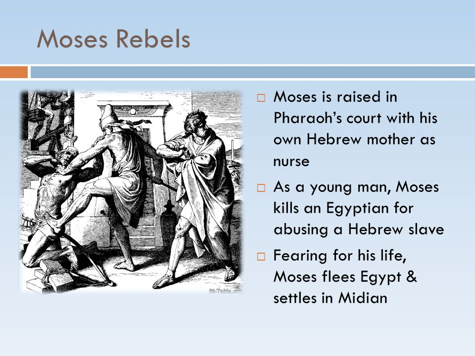 Moses Rebels  Moses is raised in Pharaoh's court with his own Hebrew mother as nurse  As a young man, Moses kills an Egyptian for abusing a Hebrew s