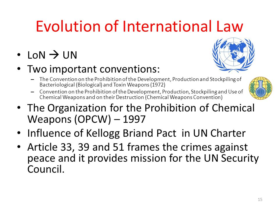 Evolution of International Law LoN  UN Two important conventions: – The Convention on the Prohibition of the Development, Production and Stockpiling of Bacteriological (Biological) and Toxin Weapons (1972) – Convention on the Prohibition of the Development, Production, Stockpiling and Use of Chemical Weapons and on their Destruction (Chemical Weapons Convention) The Organization for the Prohibition of Chemical Weapons (OPCW) – 1997 Influence of Kellogg Briand Pact in UN Charter Article 33, 39 and 51 frames the crimes against peace and it provides mission for the UN Security Council.