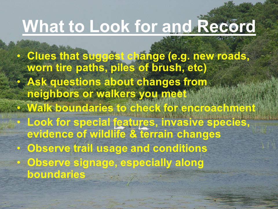 What to Look for and Record Clues that suggest change (e.g. new roads, worn tire paths, piles of brush, etc) Ask questions about changes from neighbor