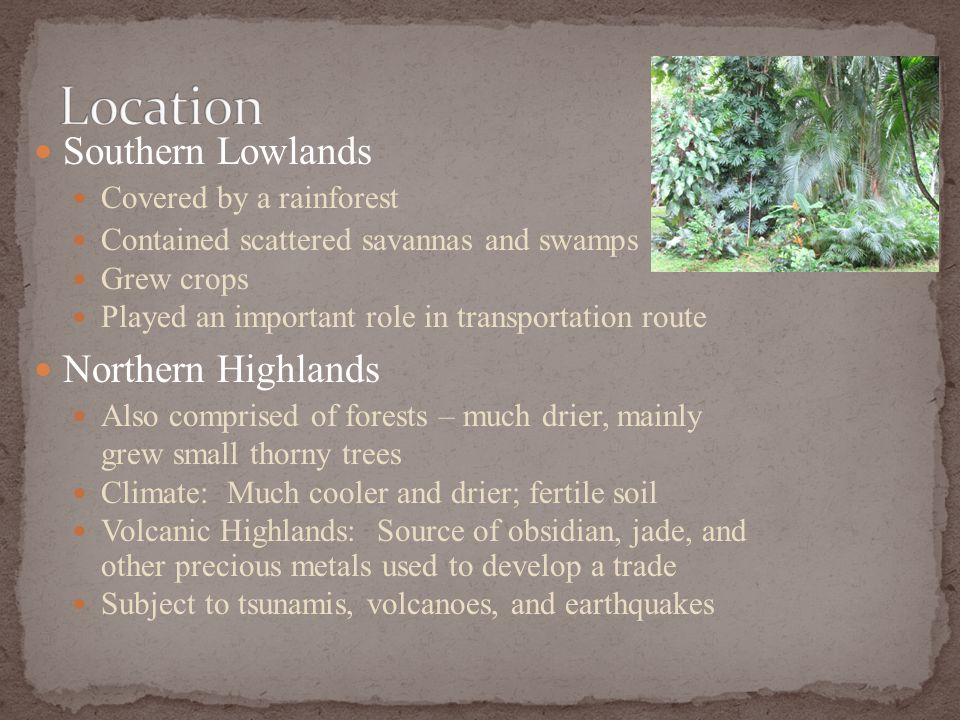 Southern Lowlands Covered by a rainforest Contained scattered savannas and swamps Grew crops Played an important role in transportation route Northern