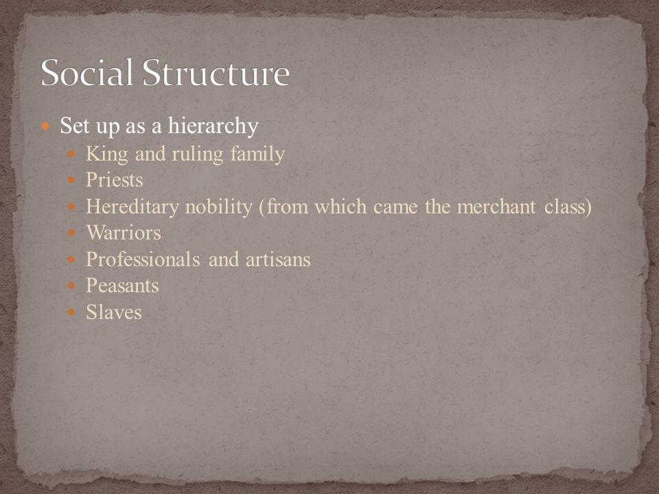 Set up as a hierarchy King and ruling family Priests Hereditary nobility (from which came the merchant class) Warriors Professionals and artisans Peasants Slaves