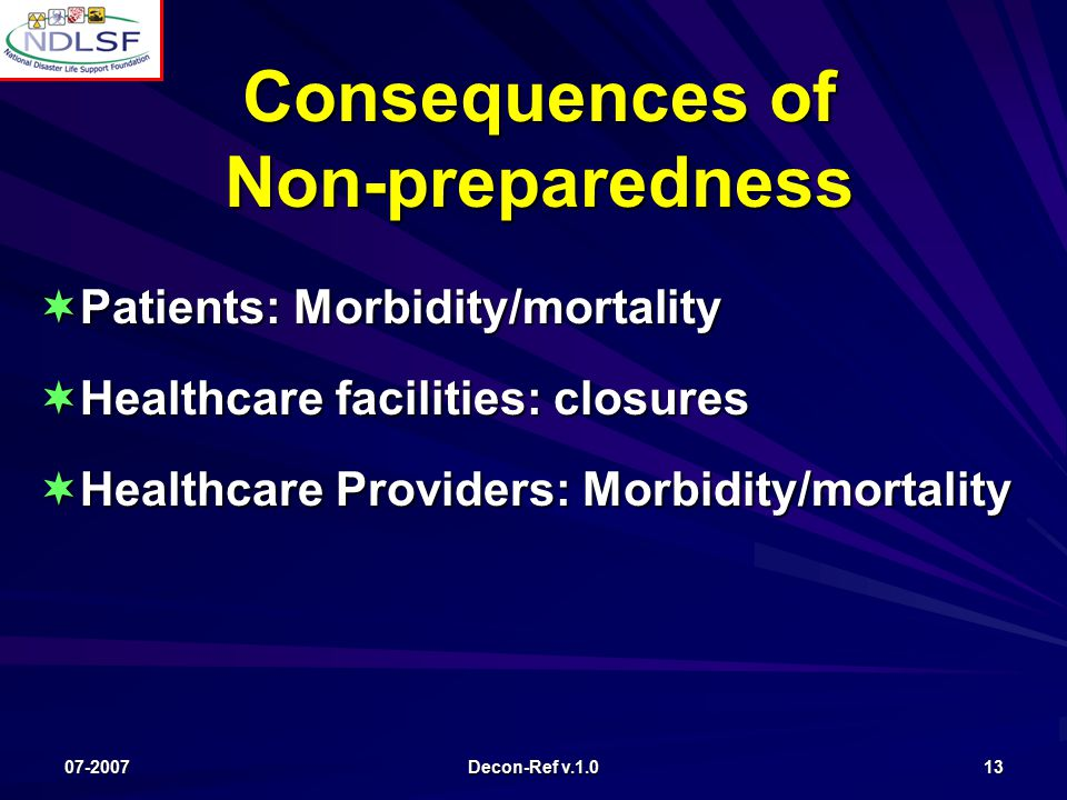 07-2007 Decon-Ref v.1.0 13 Consequences of Non-preparedness  Patients: Morbidity/mortality  Healthcare facilities: closures  Healthcare Providers: Morbidity/mortality