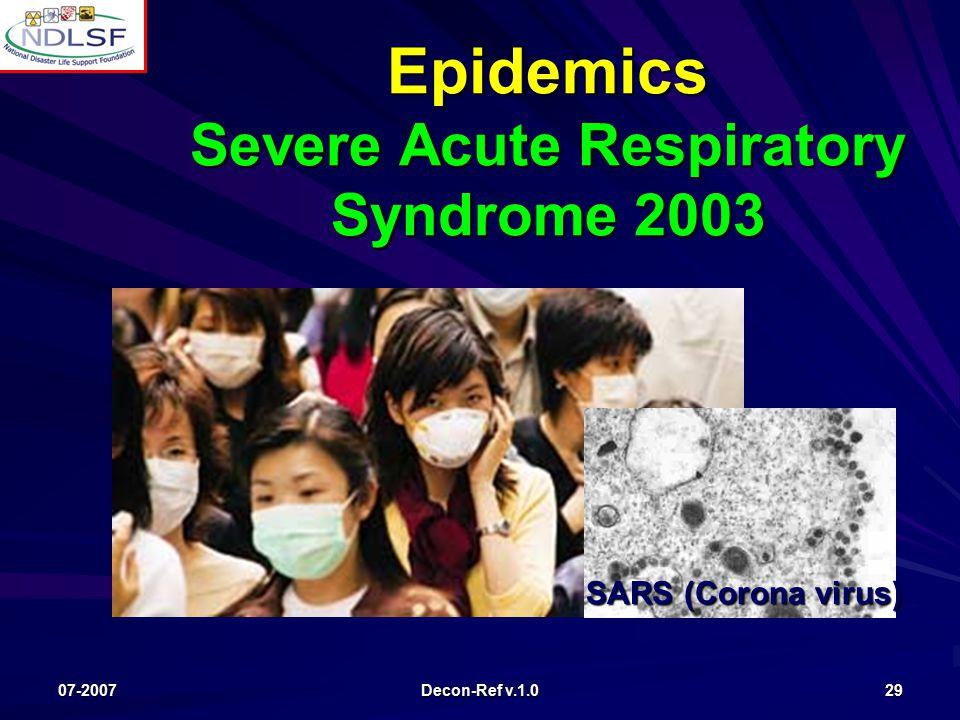 07-2007 Decon-Ref v.1.0 29 Epidemics Severe Acute Respiratory Syndrome 2003 SARS (Corona virus)
