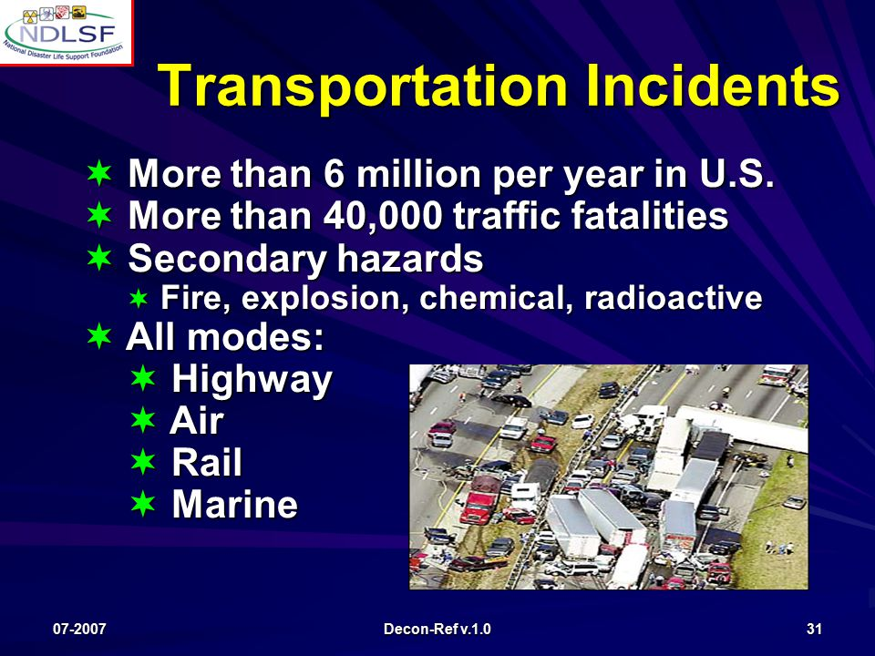 07-2007 Decon-Ref v.1.0 31 Transportation Incidents  More than 6 million per year in U.S.