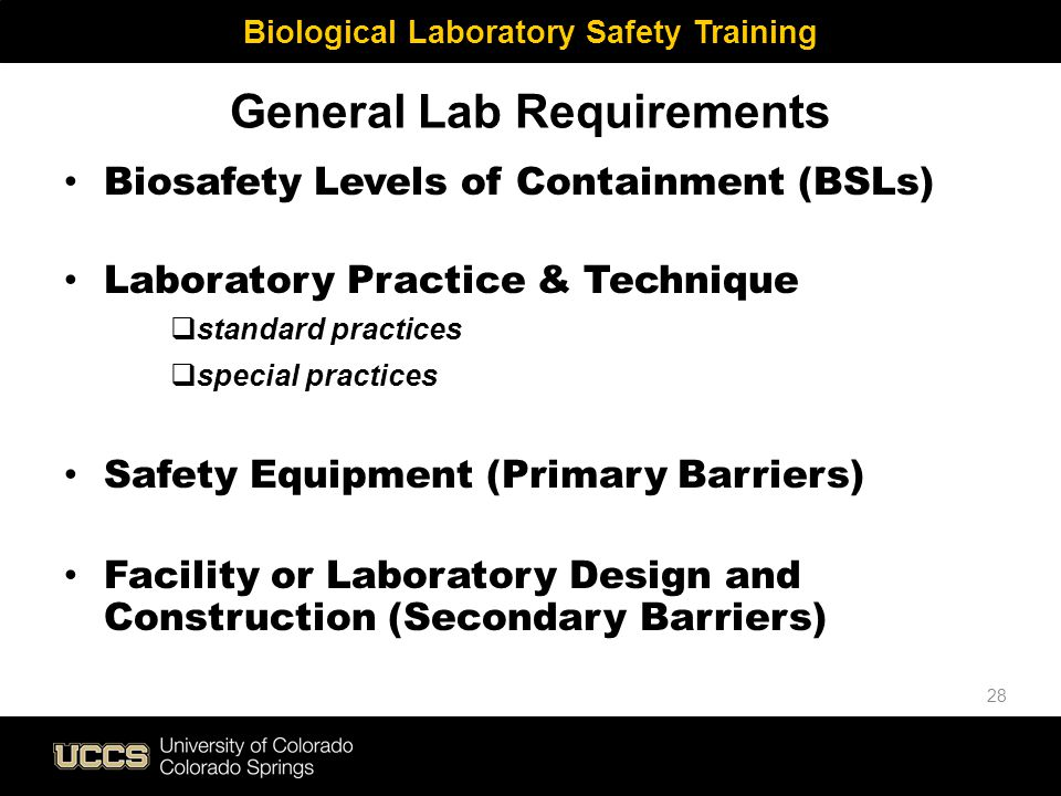 General Lab Requirements Biosafety Levels of Containment (BSLs) Laboratory Practice & Technique  standard practices  special practices Safety Equipm