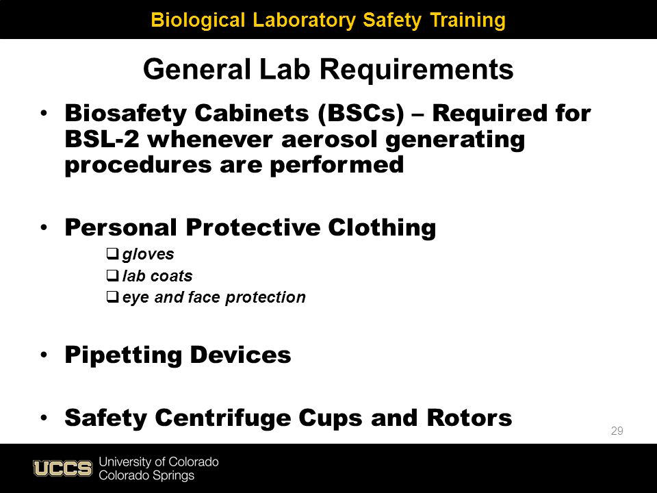 General Lab Requirements Biosafety Cabinets (BSCs) – Required for BSL-2 whenever aerosol generating procedures are performed Personal Protective Cloth