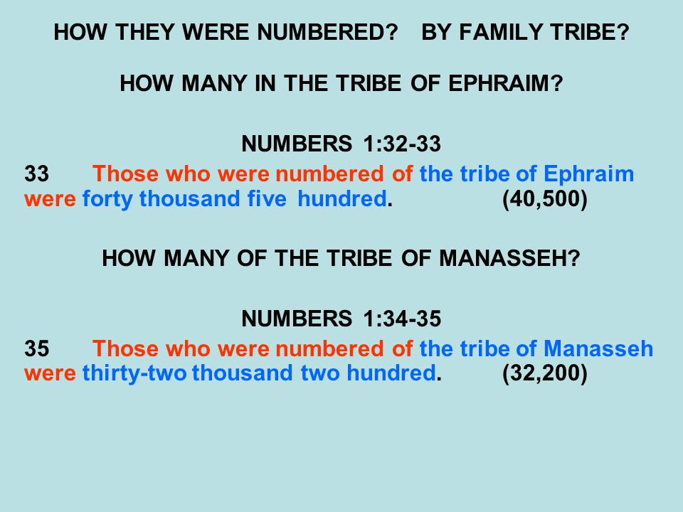 HOW THEY WERE NUMBERED.BY FAMILY TRIBE. HOW MANY IN THE TRIBE OF EPHRAIM.
