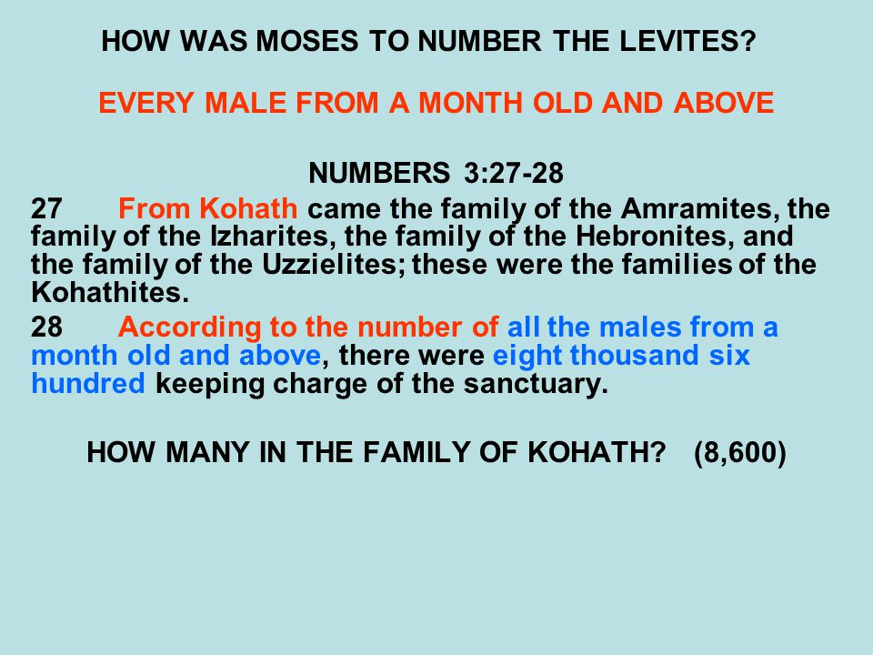HOW WAS MOSES TO NUMBER THE LEVITES? EVERY MALE FROM A MONTH OLD AND ABOVE NUMBERS 3:27-28 27From Kohath came the family of the Amramites, the family