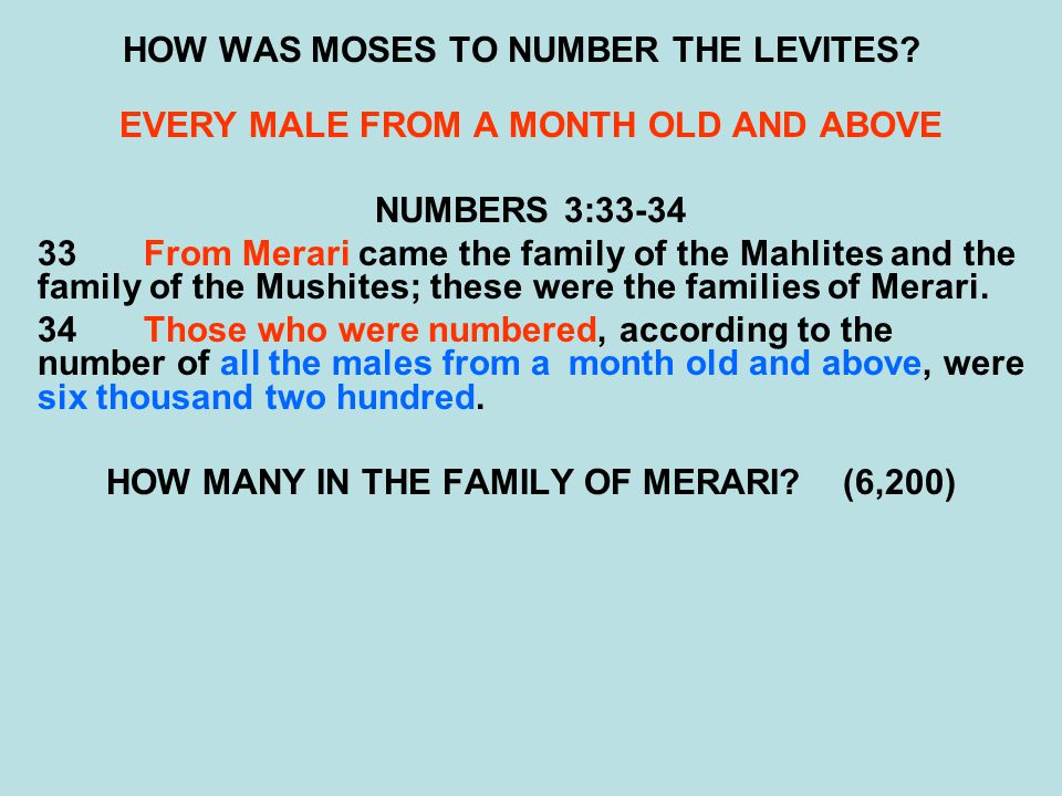 HOW WAS MOSES TO NUMBER THE LEVITES? EVERY MALE FROM A MONTH OLD AND ABOVE NUMBERS 3:33-34 33From Merari came the family of the Mahlites and the famil
