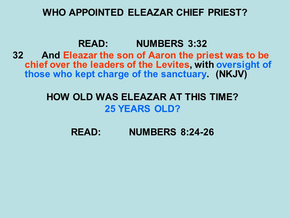 WHO APPOINTED ELEAZAR CHIEF PRIEST.