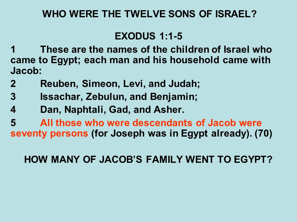 WHO WERE THE TWELVE SONS OF ISRAEL? EXODUS 1:1-5 1These are the names of the children of Israel who came to Egypt; each man and his household came wit
