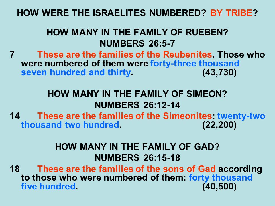 HOW WERE THE ISRAELITES NUMBERED? BY TRIBE? HOW MANY IN THE FAMILY OF RUEBEN? NUMBERS 26:5-7 7These are the families of the Reubenites. Those who were