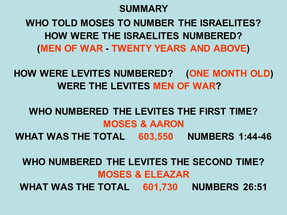 SUMMARY WHO TOLD MOSES TO NUMBER THE ISRAELITES? HOW WERE THE ISRAELITES NUMBERED? (MEN OF WAR - TWENTY YEARS AND ABOVE) HOW WERE LEVITES NUMBERED?(ON