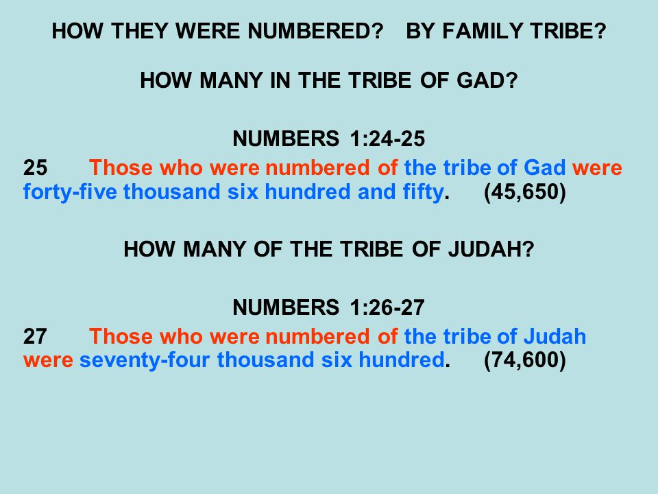 HOW THEY WERE NUMBERED? BY FAMILY TRIBE? HOW MANY IN THE TRIBE OF GAD? NUMBERS 1:24-25 25Those who were numbered of the tribe of Gad were forty-five t