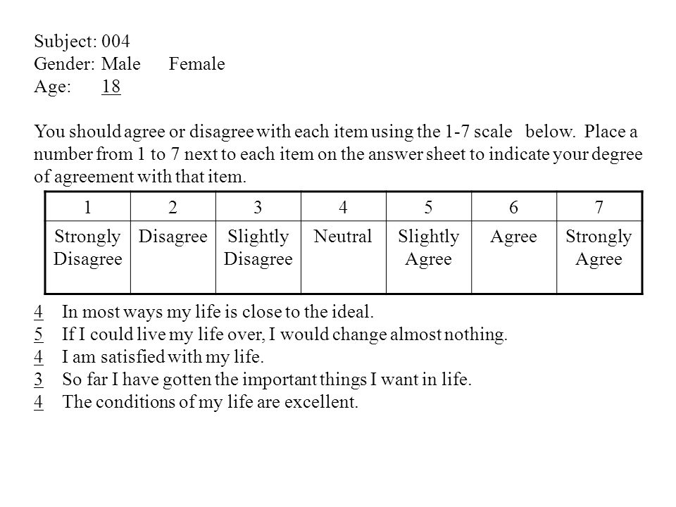 Subject:004 Gender: MaleFemale Age: 18 You should agree or disagree with each item using the 1-7 scale below. Place a number from 1 to 7 next to each