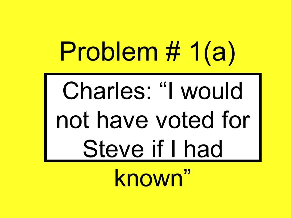"""Problem # 1(a) Charles: """"I would not have voted for Steve if I had known"""""""