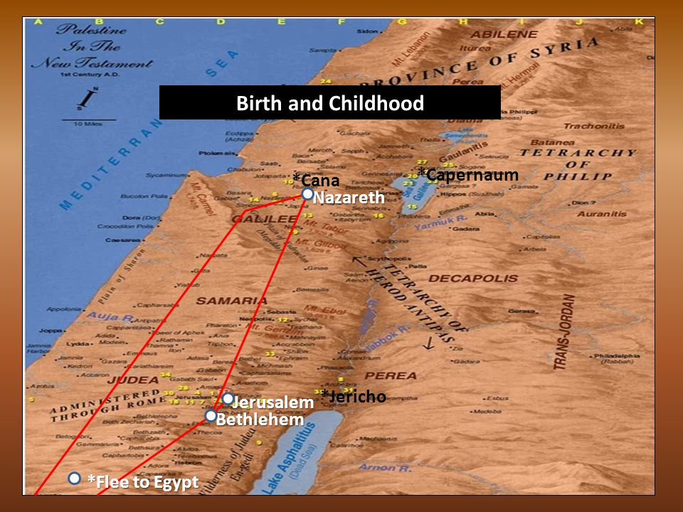 *Nazareth *Jerusalem *Bethlehem *Capernaum *Cana *Jericho *Flee to Egypt Birth and Childhood