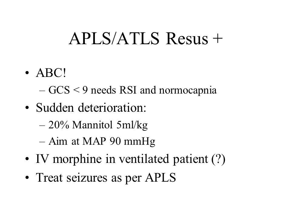 APLS/ATLS Resus + ABC.