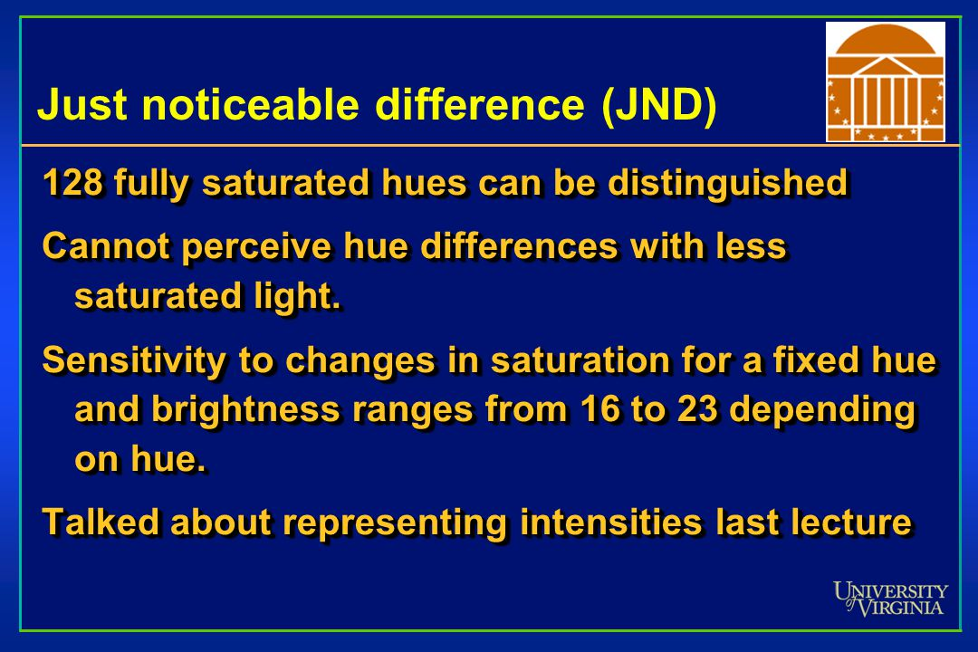 Just noticeable difference (JND) 128 fully saturated hues can be distinguished Cannot perceive hue differences with less saturated light.