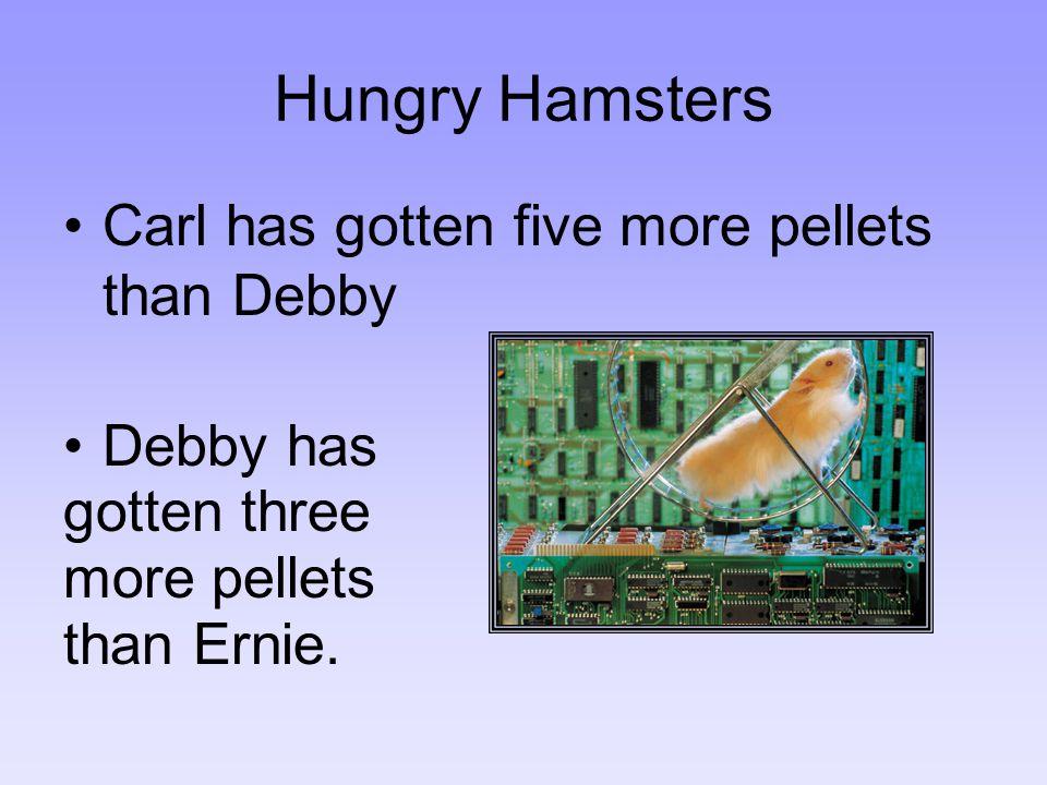 Carl has gotten five more pellets than Debby Debby has gotten three more pellets than Ernie.