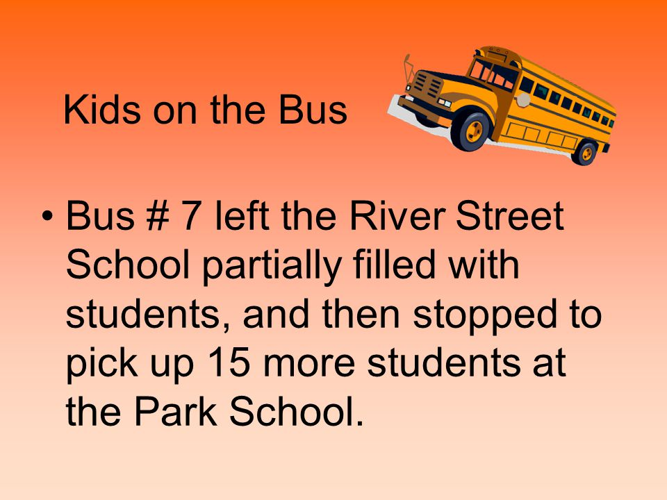 Kids on the Bus Bus # 7 left the River Street School partially filled with students, and then stopped to pick up 15 more students at the Park School.