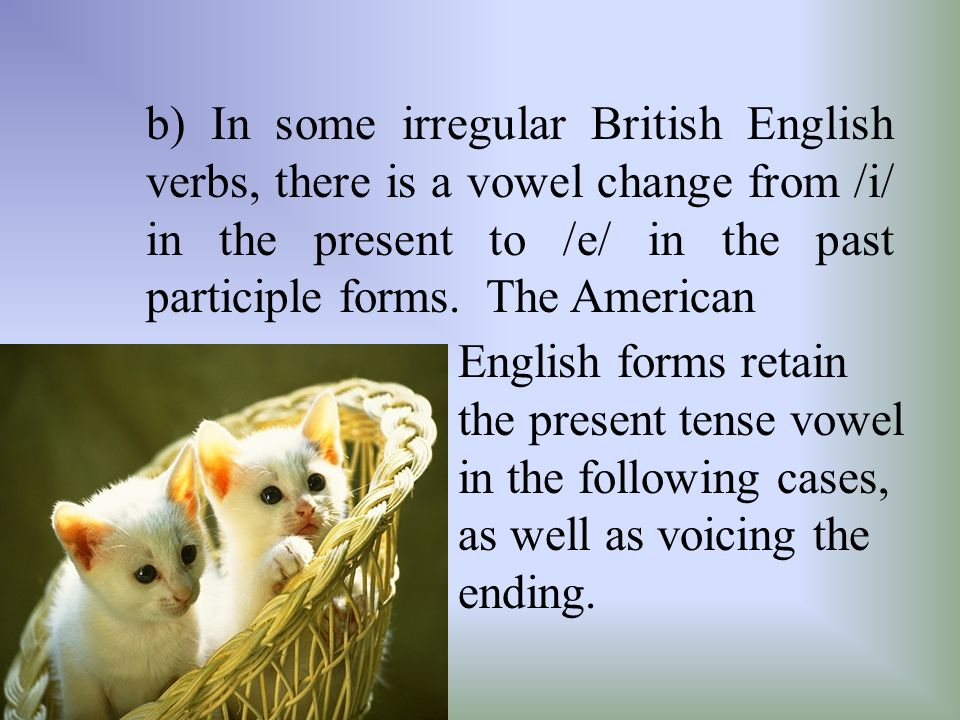 b) In some irregular British English verbs, there is a vowel change from /i/ in the present to /e/ in the past participle forms.