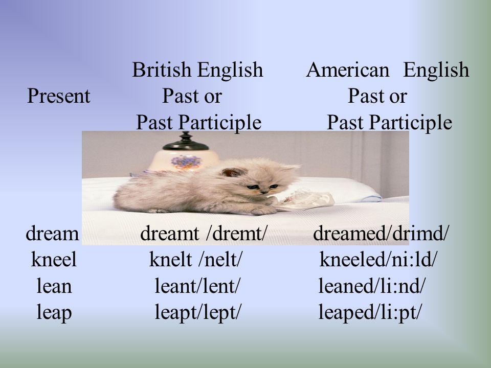 British English American English Present Past or Past or Past Participle Past Participle dream dreamt /dremt/ dreamed/drimd/ kneel knelt /nelt/ kneeled/ni:ld/ lean leant/lent/ leaned/li:nd/ leap leapt/lept/ leaped/li:pt/