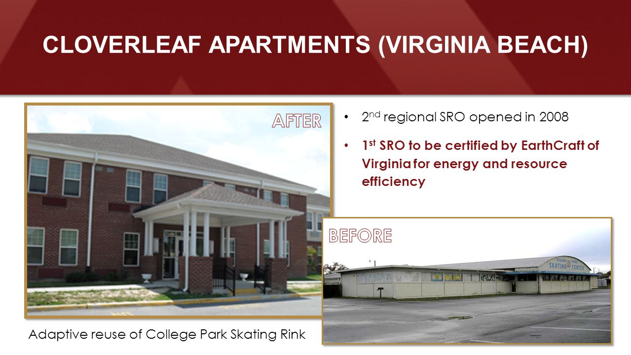 2 nd regional SRO opened in 2008 1 st SRO to be certified by EarthCraft of Virginia for energy and resource efficiency CLOVERLEAF APARTMENTS (VIRGINIA BEACH) Adaptive reuse of College Park Skating Rink