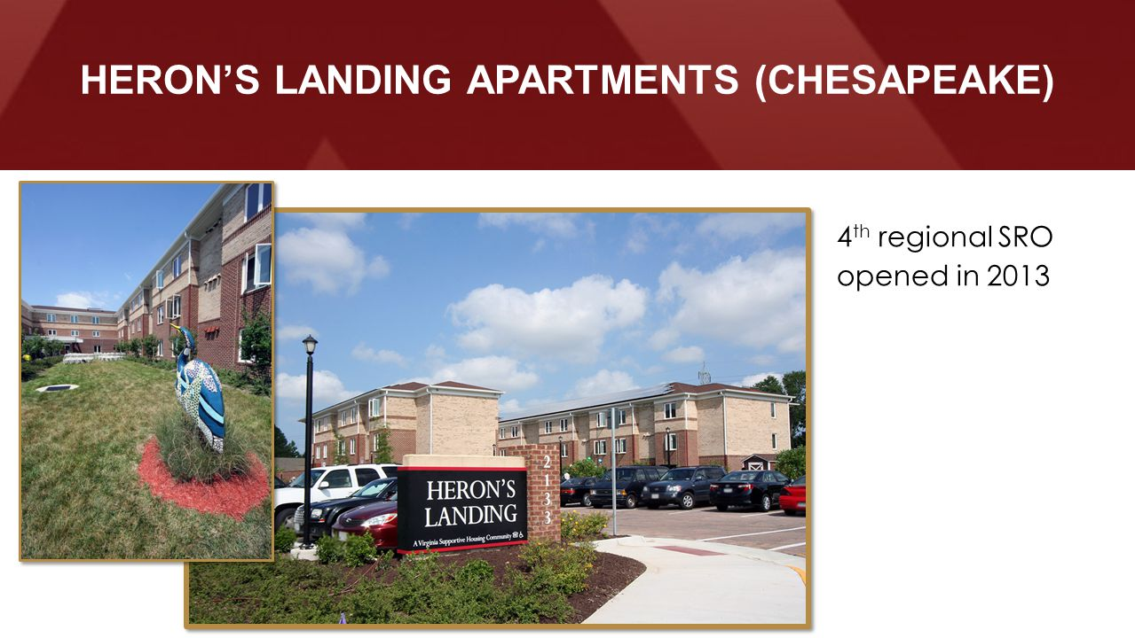 Before HERON'S LANDING APARTMENTS (CHESAPEAKE) 4 th regional SRO opened in 2013