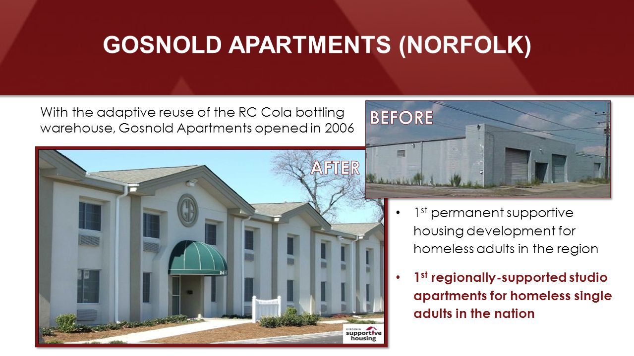 1 st permanent supportive housing development for homeless adults in the region 1 st regionally-supported studio apartments for homeless single adults in the nation With the adaptive reuse of the RC Cola bottling warehouse, Gosnold Apartments opened in 2006 GOSNOLD APARTMENTS (NORFOLK)