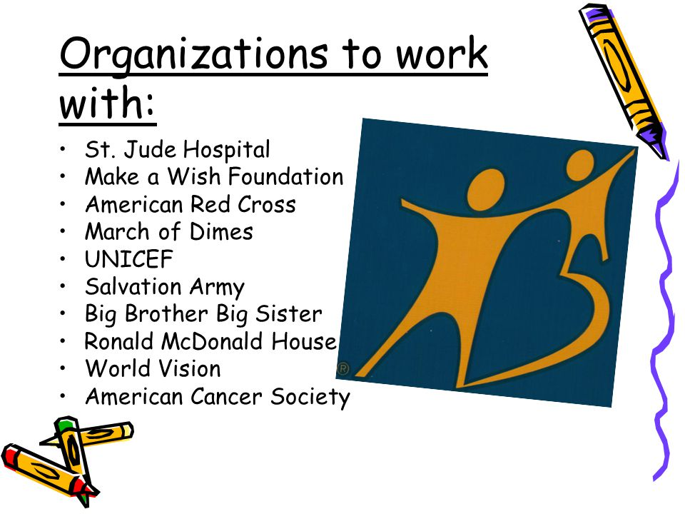 Organizations to work with: St.
