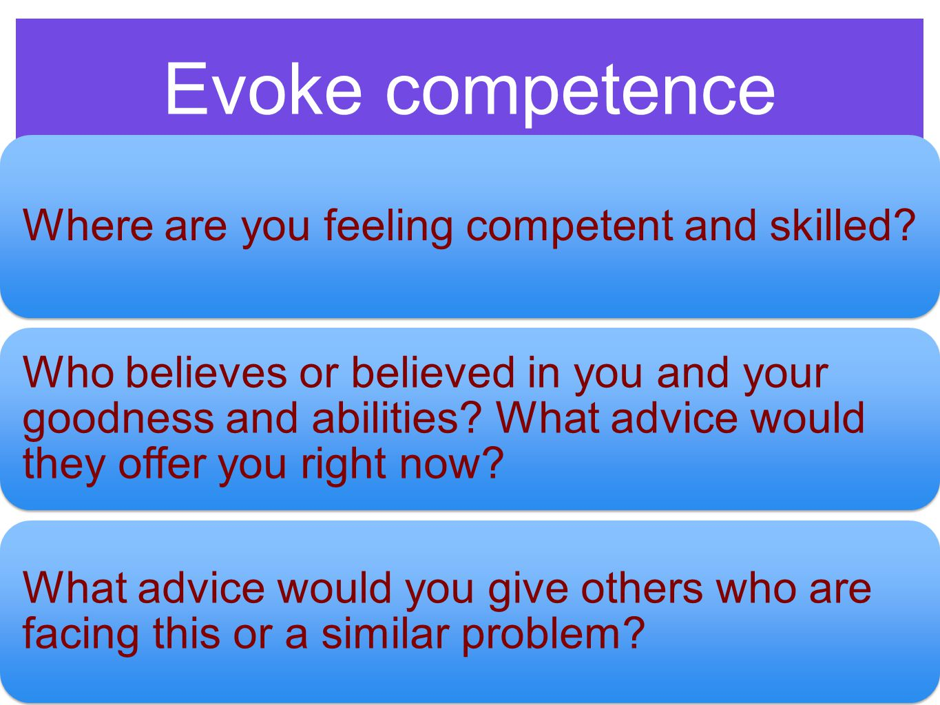Evoke competence Where are you feeling competent and skilled.