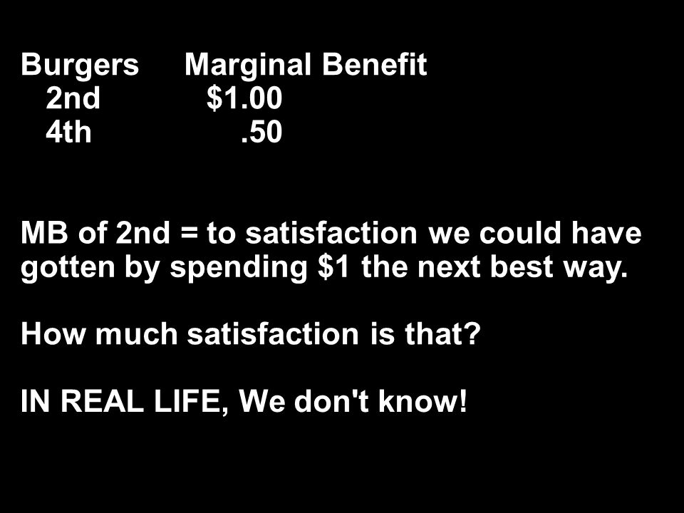 Burgers Marginal Benefit 2nd $1.00 4th.50 MB of 2nd = to satisfaction we could have gotten by spending $1 the next best way.
