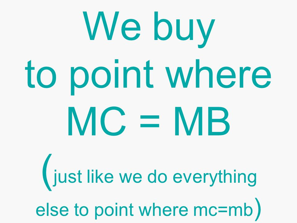 We buy to point where MC = MB ( just like we do everything else to point where mc=mb )