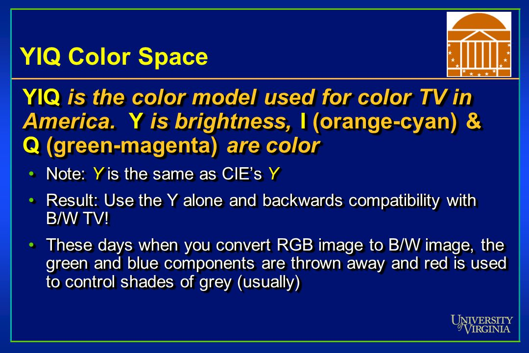 YIQ Color Space YIQ is the color model used for color TV in America.