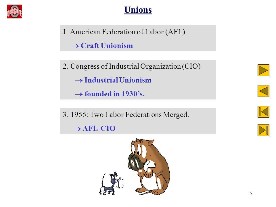 5 Unions 1. American Federation of Labor (AFL)  Craft Unionism 2.