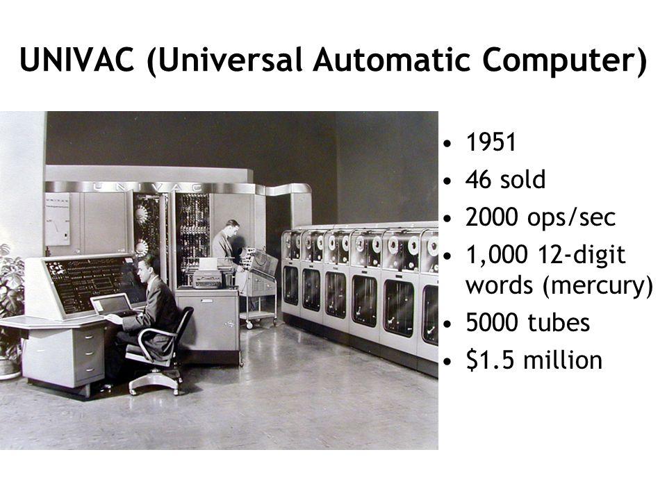 UNIVAC (Universal Automatic Computer) 1951 46 sold 2000 ops/sec 1,000 12-digit words (mercury) 5000 tubes $1.5 million