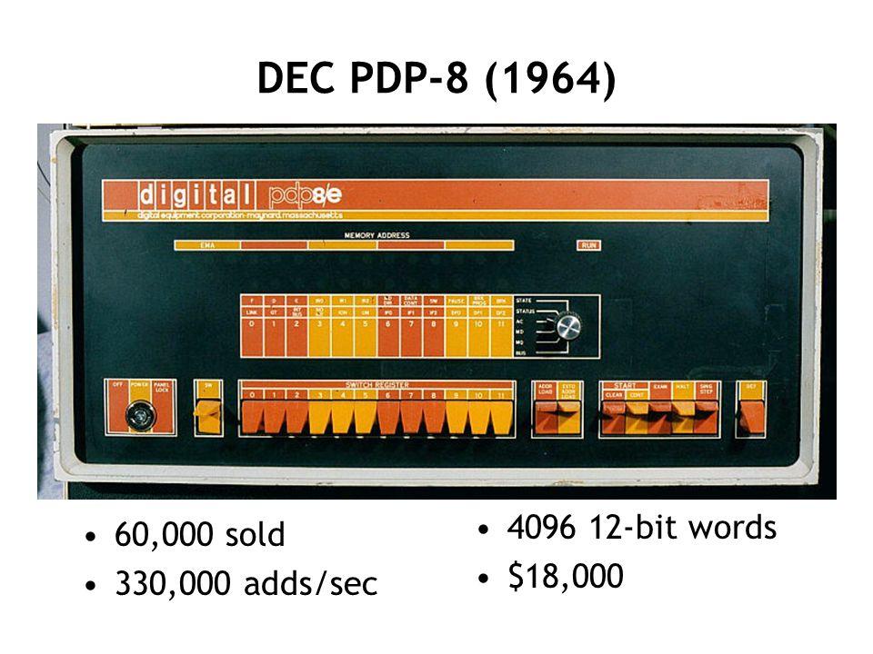 DEC PDP-8 (1964) 60,000 sold 330,000 adds/sec 4096 12-bit words $18,000