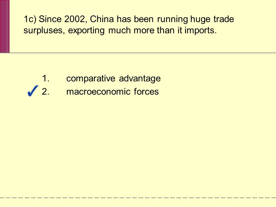 1c) Since 2002, China has been running huge trade surpluses, exporting much more than it imports.