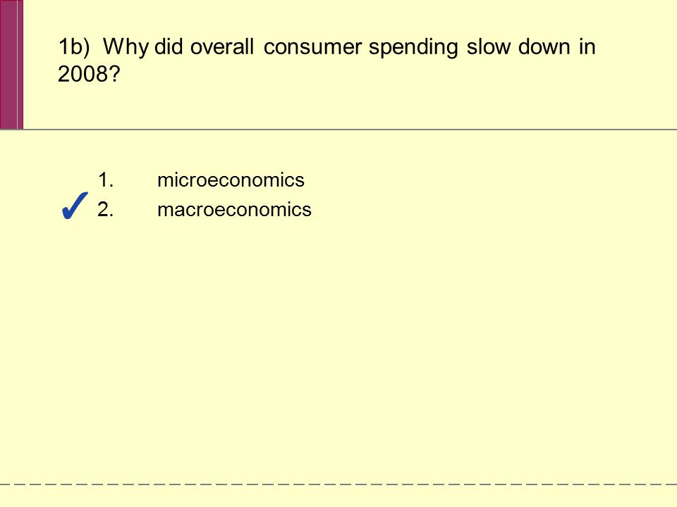 1.microeconomics 2.macroeconomics 1b) Why did overall consumer spending slow down in 2008