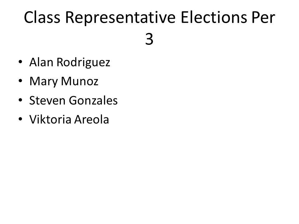 Class Representative Elections Per 3 Alan Rodriguez Mary Munoz Steven Gonzales Viktoria Areola