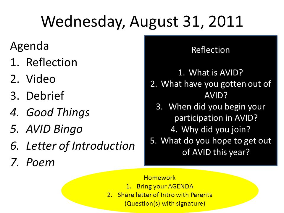 Wednesday, August 31, 2011 Agenda 1.Reflection 2.Video 3.Debrief 4.Good Things 5.AVID Bingo 6.Letter of Introduction 7.Poem Reflection 1.What is AVID.