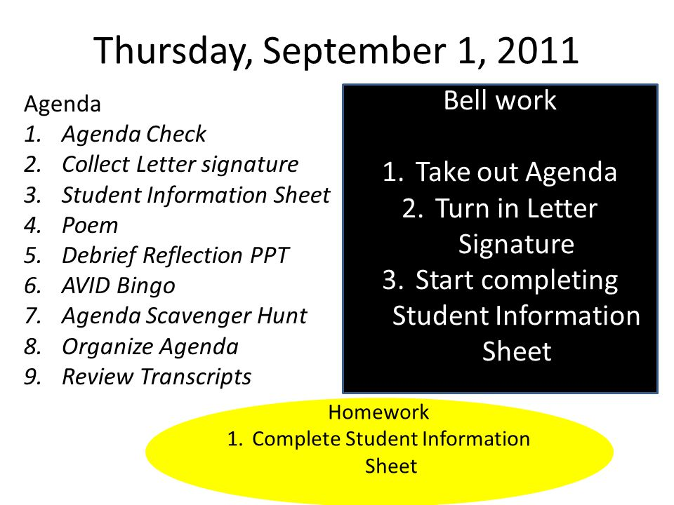 Wednesday, September 7, 2011 Agenda 1.Round Robin with Tutors 2.Social Contract PPT and Activity 3.Review Transcripts Bell work 1.Turn in Student Information Sheet 2.